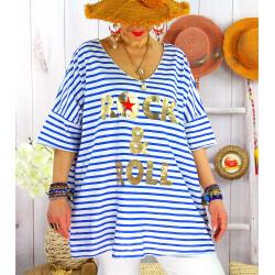 T-shirt coton femme grande taille été marin ROCKY Royal-Tee shirt tunique femme grande taille-CHARLESELIE94