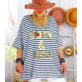 T-shirt coton femme grande taille été marin ROCKY Marine-Tee shirt tunique femme grande taille-CHARLESELIE94