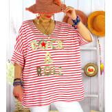 T-shirt coton femme grande taille été marin ROCKY Rouge-Tee shirt tunique femme grande taille-CHARLESELIE94