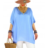 Tunique satin habillée grande taille été CIGALOU Bleu-Tunique été femme-CHARLESELIE94
