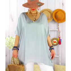 Tunique satin habillée grande taille été CIGALOU Gris-Tunique été femme-CHARLESELIE94