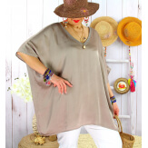 Tunique satin habillée grande taille été CIGALOU Taupe-Tunique été femme-CHARLESELIE94