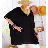 Tunique satin habillée grande taille été CIGALOU Noir-Tunique été femme-CHARLESELIE94
