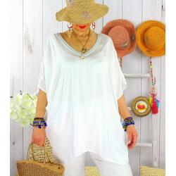 Tunique satin habillée grande taille été CIGALOU Blanc-Tunique été femme-CHARLESELIE94