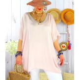 Tunique satin habillée grande taille été CIGALOU Rose-Tunique été femme-CHARLESELIE94