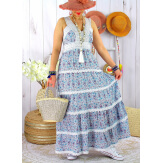 Robe longue été bohème dentelle fleurie DOLCE Turquoise Robe longue femme