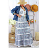 Robe longue été bohème dentelle fleurie DOLCE bleu Robe longue femme