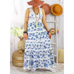 Robe longue été bohème dentelle fleurie PITA Bleu jean Robe longue femme