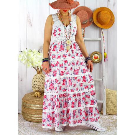 Robe longue été bohème dentelle fleurie PITA Fushia-Robe longue femme-CHARLESELIE94