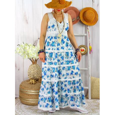 Robe longue été bohème dentelle fleurie PITA Turquoise-Robe longue femme-CHARLESELIE94