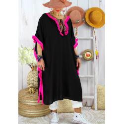 Robe poncho été brodé grande taille GWENDOLINE Noir Fuchsia Robe été femme