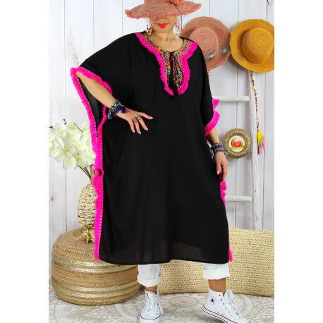 Robe poncho été brodé grande taille GWENDOLINE Noir Fuchsia-Robe été femme-CHARLESELIE94