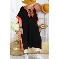Robe poncho été brodé grande taille GWENDOLINE Noir Orange Robe été femme