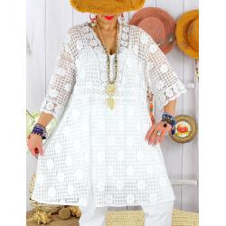 Robe tunique grande taille dentelle été AMORETA Blanche-Robe tunique femme grande taille-CHARLESELIE94