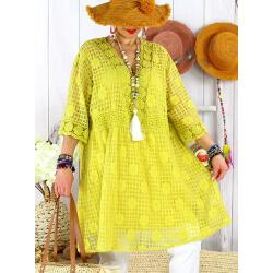 Robe tunique grande taille dentelle été AMORETA Jaune-Robe tunique femme grande taille-CHARLESELIE94