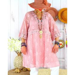 Robe tunique grande taille dentelle été AMORETA Rose-Robe tunique femme grande taille-CHARLESELIE94