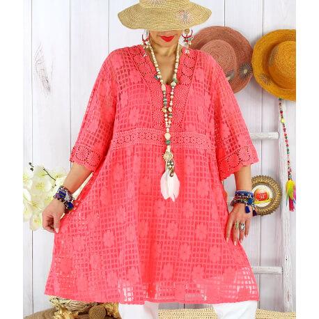 Robe tunique grande taille dentelle été AMORETA Corail-Robe tunique femme grande taille-CHARLESELIE94