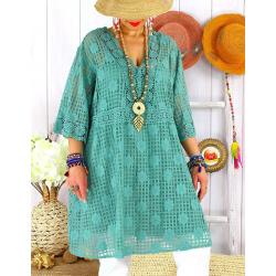 Robe tunique grande taille dentelle été AMORETA Jade-Robe tunique femme grande taille-CHARLESELIE94