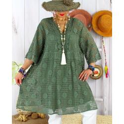 Robe tunique grande taille dentelle été AMORETA Kaki-Robe tunique femme grande taille-CHARLESELIE94