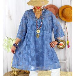 Robe tunique grande taille dentelle été AMORETA Bleue-Robe tunique femme grande taille-CHARLESELIE94