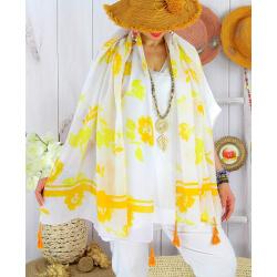 Foulard châle écharpe pompons été imprimé bohème F70 Accessoires mode femme