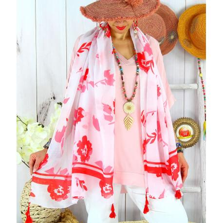 Foulard châle écharpe pompons été imprimé bohème F71-Accessoires mode femme-CHARLESELIE94