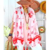 Foulard châle écharpe pompons été imprimé bohème F71 Accessoires mode femme