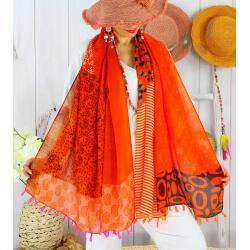 Foulard châle écharpe pompons été imprimé bohème F72-Accessoires mode femme-CHARLESELIE94