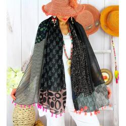Foulard châle écharpe pompons été imprimé bohème F73 Accessoires mode femme