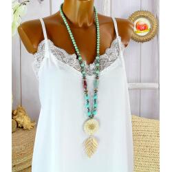 Sautoir long perles verre paille bois résine bohème chic C150-Collier sautoir fantaisie-CHARLESELIE94