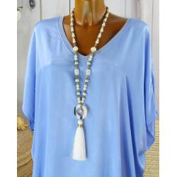 Sautoir long perles verre bois pompon résine bohème C151-Collier sautoir fantaisie-CHARLESELIE94