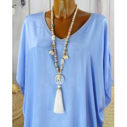 Sautoir long perles verre bois pompon résine bohème C152-Collier sautoir fantaisie-CHARLESELIE94