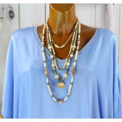 Sautoir multi rangs perles verre bois résine bohème C154-Collier sautoir fantaisie-CHARLESELIE94