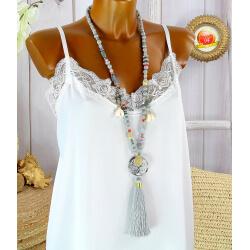 Sautoir long perles verre bois pompon résine bohème C153-Collier sautoir fantaisie-CHARLESELIE94