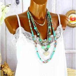 Sautoir multi rangs perles verre bois résine bohème C155-Collier sautoir fantaisie-CHARLESELIE94
