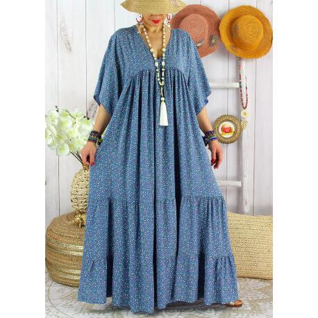 Robe longue grande taille liberty été MIAMI Bleu jean Robe été grande taille