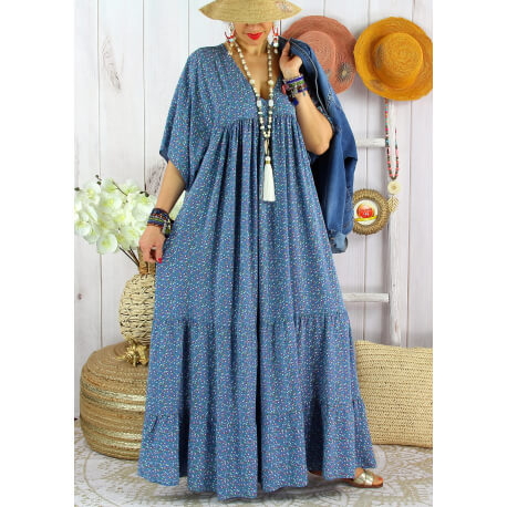 Robe longue grande taille liberty été MIAMI Bleu jean-Robe été grande taille-CHARLESELIE94