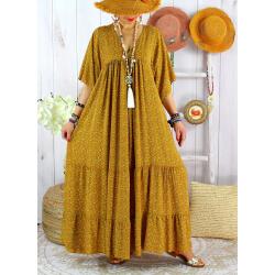 Robe longue grande taille liberty été MIAMI Jaune Robe été grande taille