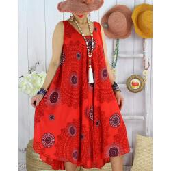 Robe été grande taille éthnique évasée légère LOVER Rouge-Robe été grande taille-CHARLESELIE94