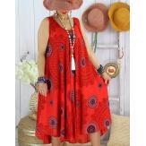 Robe été grande taille éthnique évasée légère LOVER Rouge Robe été grande taille