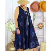 Robe été grande taille éthnique évasée légère LOVER Bleu marine Robe été grande taille