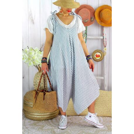 Robe combinaison lin été grande taille blanc rayé ADAM-Robe femme-CHARLESELIE94