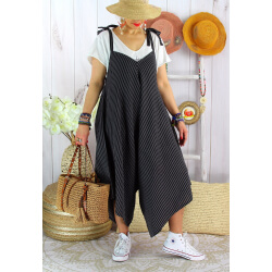 Robe combinaison lin été grande taille noir ADAM-Robe femme-CHARLESELIE94