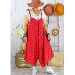 Robe combinaison lin été grande taille rouge ADAM-Robe femme-CHARLESELIE94