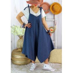 Robe combinaison lin été grande taille ADAM Bleu marine Robe femme