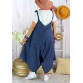Robe combinaison lin été grande taille ADAM Bleu marine-Robe femme-CHARLESELIE94