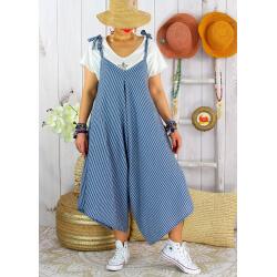 Robe combinaison été lin grande taille ADAM Bleu jean Robe femme