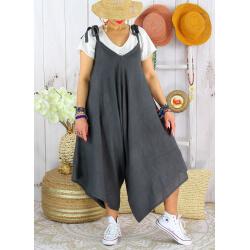 Robe combinaison longue 100% lin été bohème gris YONI-Robe femme-CHARLESELIE94