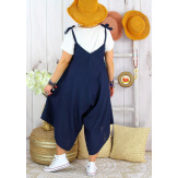 Robe combinaison été lin grande taille YONI Bleu marine-Robe longue femme-CHARLESELIE94