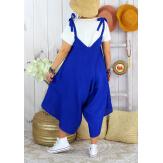 Robe combi lin été grande taille YONI Bleu royal-Robe longue femme-CHARLESELIE94